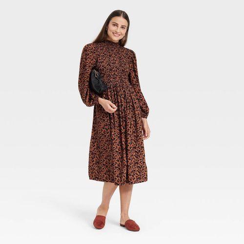 A New Day Long Sleeve Smocked Bodice Dress