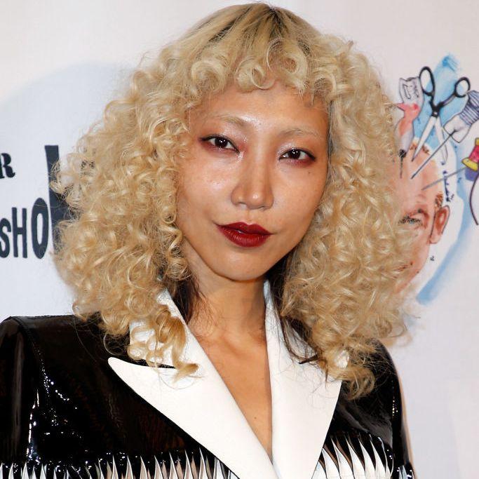Soo Joo Park blonde curly bob with bangs