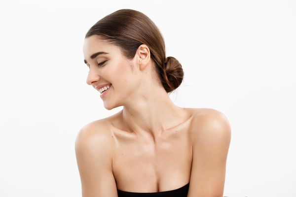 A woman with beautiful décolletage