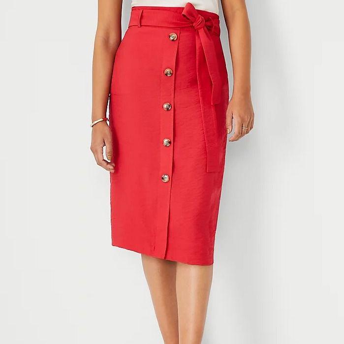 Ann Taylor Tie-Waist Button Front Pencil Skirt