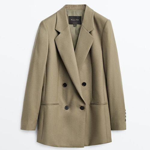 Massimo Dutti Wool and Flannel Double-Breasted Blazer