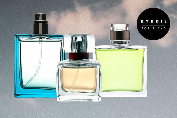 Photo composite of three perfume bottles.