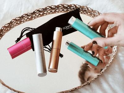 scentbird fragrances on a gold-rimmed mirror