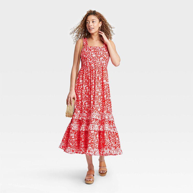 Universal Thread Floral Print Smocked Tiered Tank Dress
