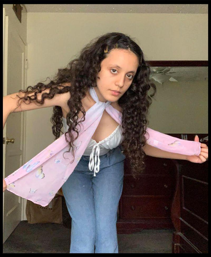 Woman wearing a scarf