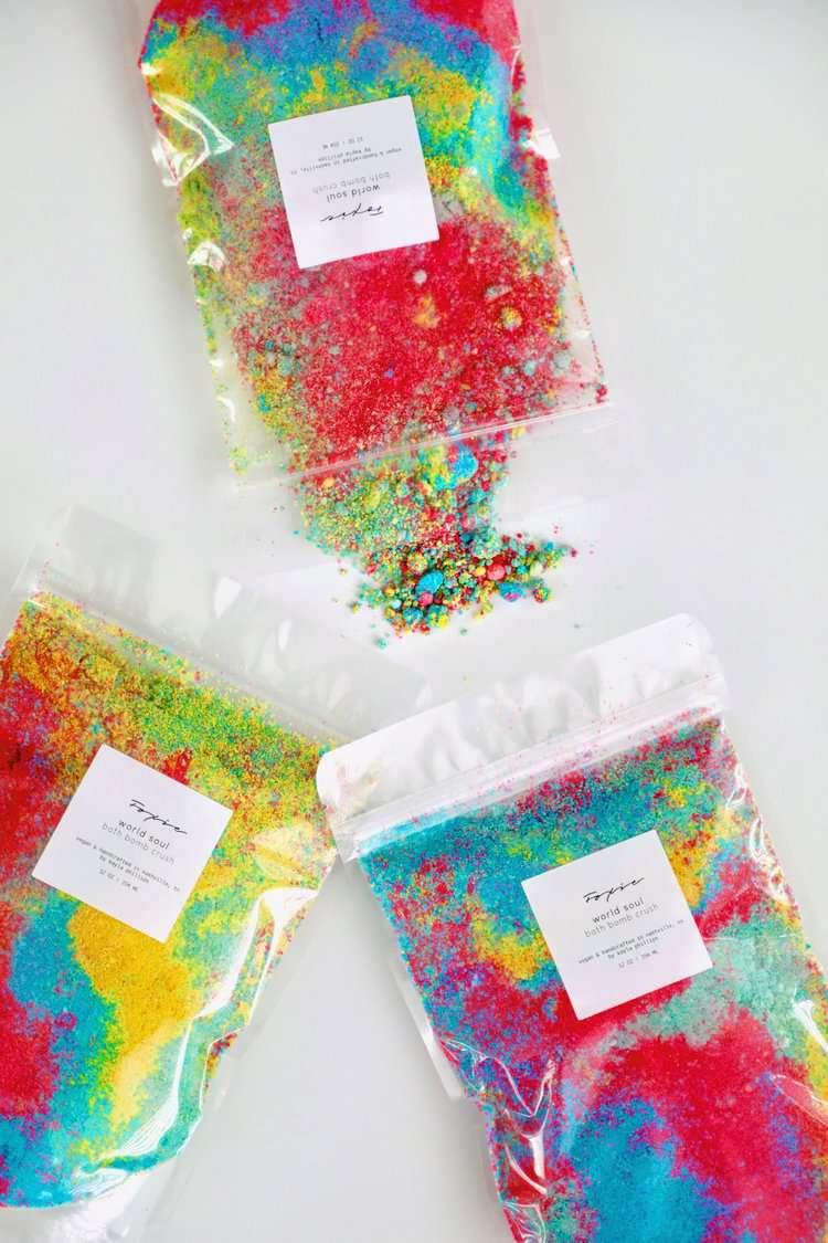 Foxie Cosmetics rainbow hued, crushed bath bomb.