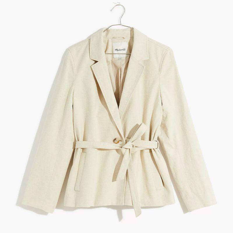 Cotton-Linen Belted Blazer