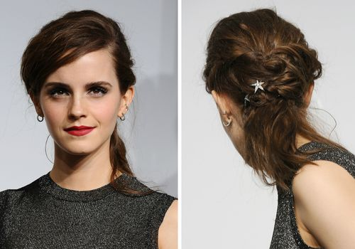 Actress Emma Watson poses in the press room at the 86th annual Academy Awards