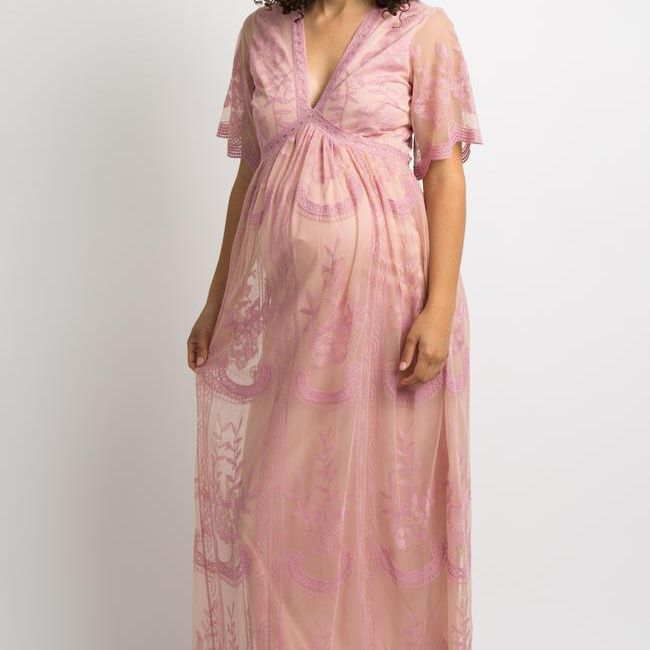 pink-blush-lace-mesh-overlay-maternity-dress