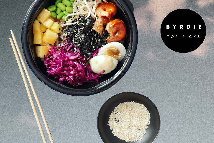 Photo composite of a poke bowl beside a smaller bowl of uncooked rice and pair of chopsticks