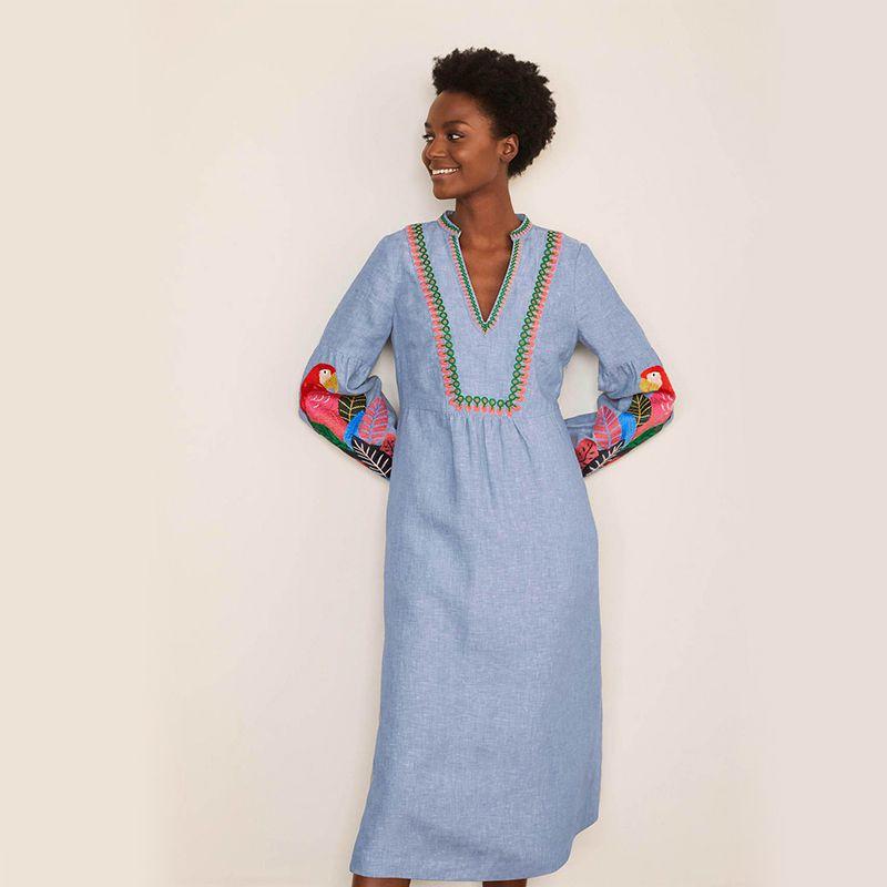 Leonie Embroidered Linen Dress