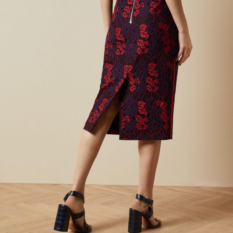 Ted Baker London Zinniaa Pencil Lace Midi Skirt