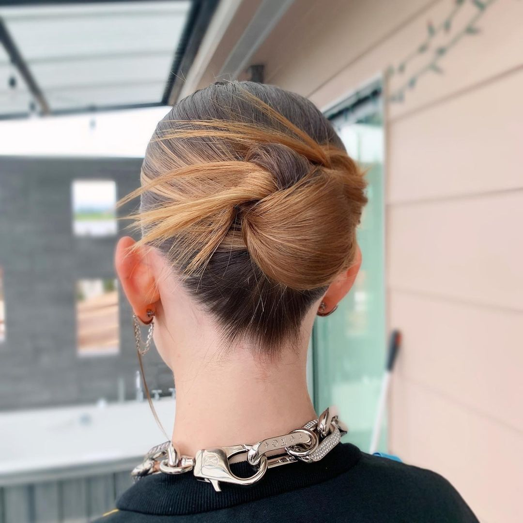 Knotted and pinned updo