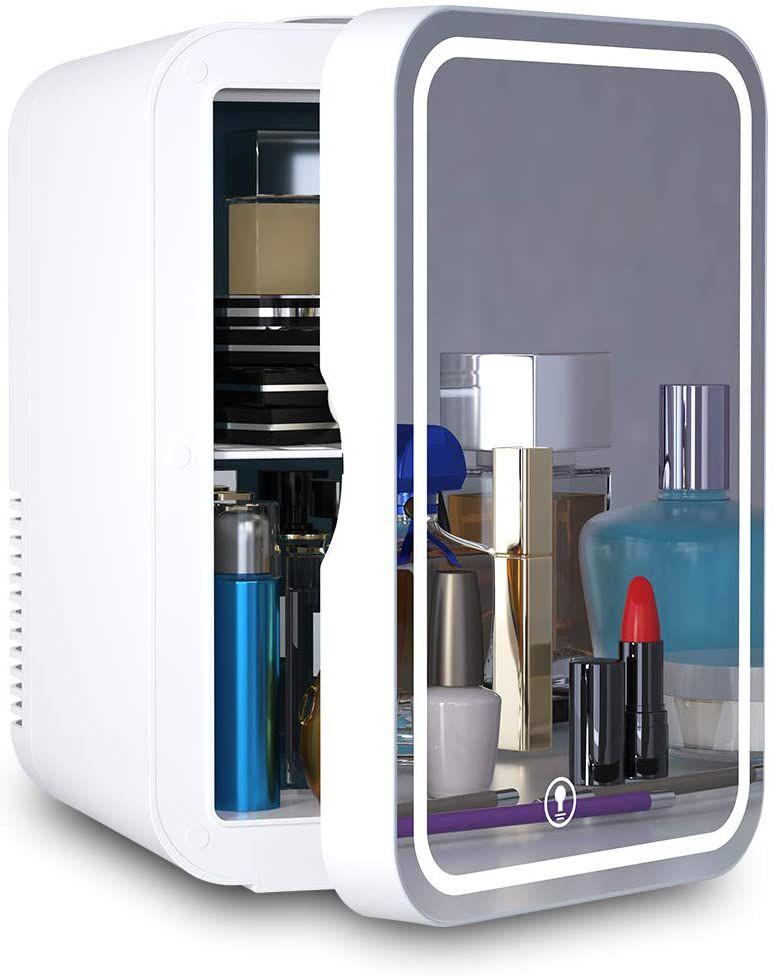Cooseon 6 Liter Mini Mirrored LED Beauty Fridge