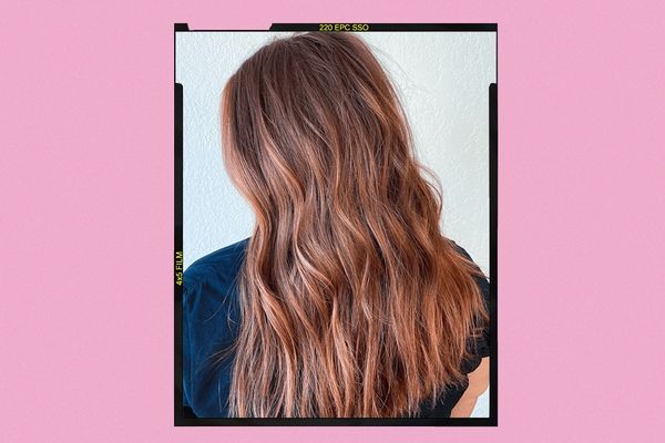 Woman with strawberry brown hair