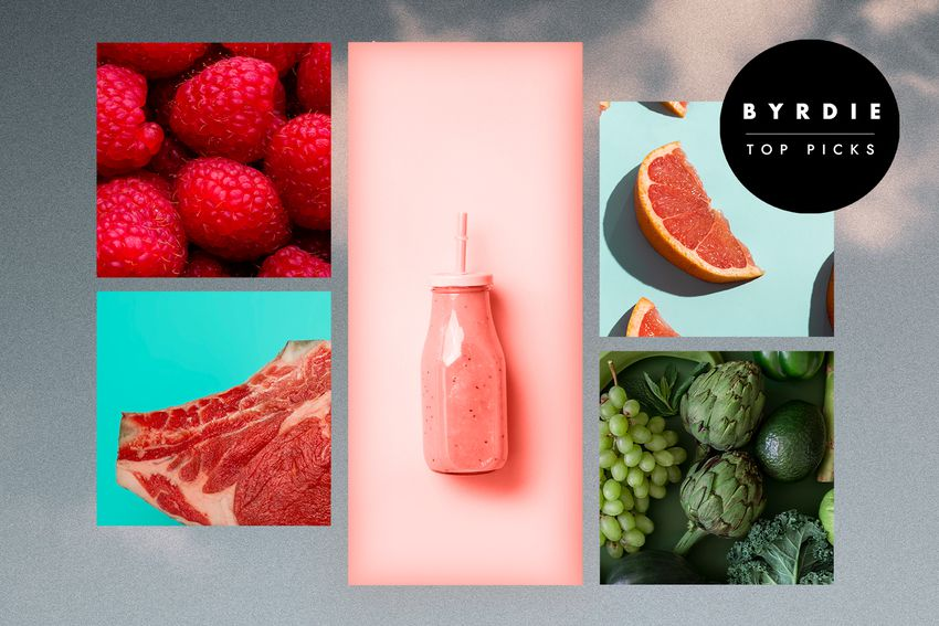 Photo composite of individual photos of berries, meat, a smoothie, grapefruit, and green vegetables