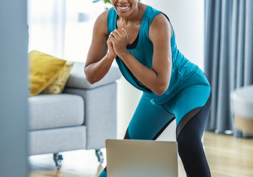 Woman home workout lunges