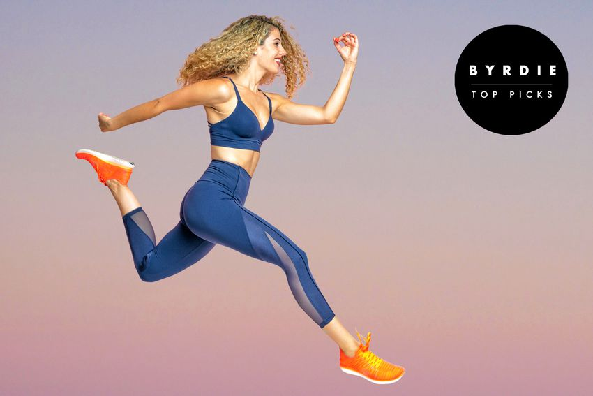 Photo composite of a woman in athletic wear leaping