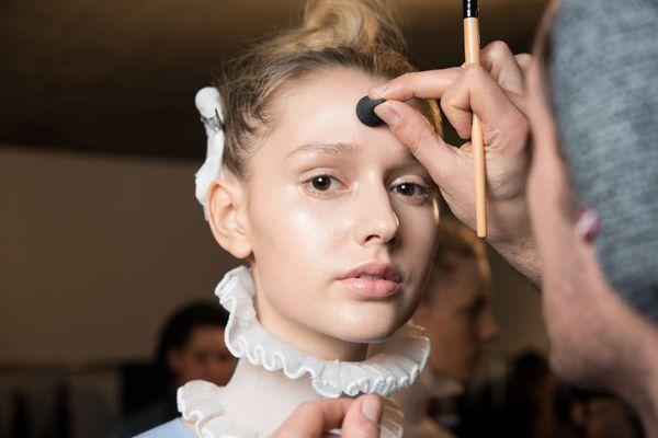 Model being prepared for London Fashion Week