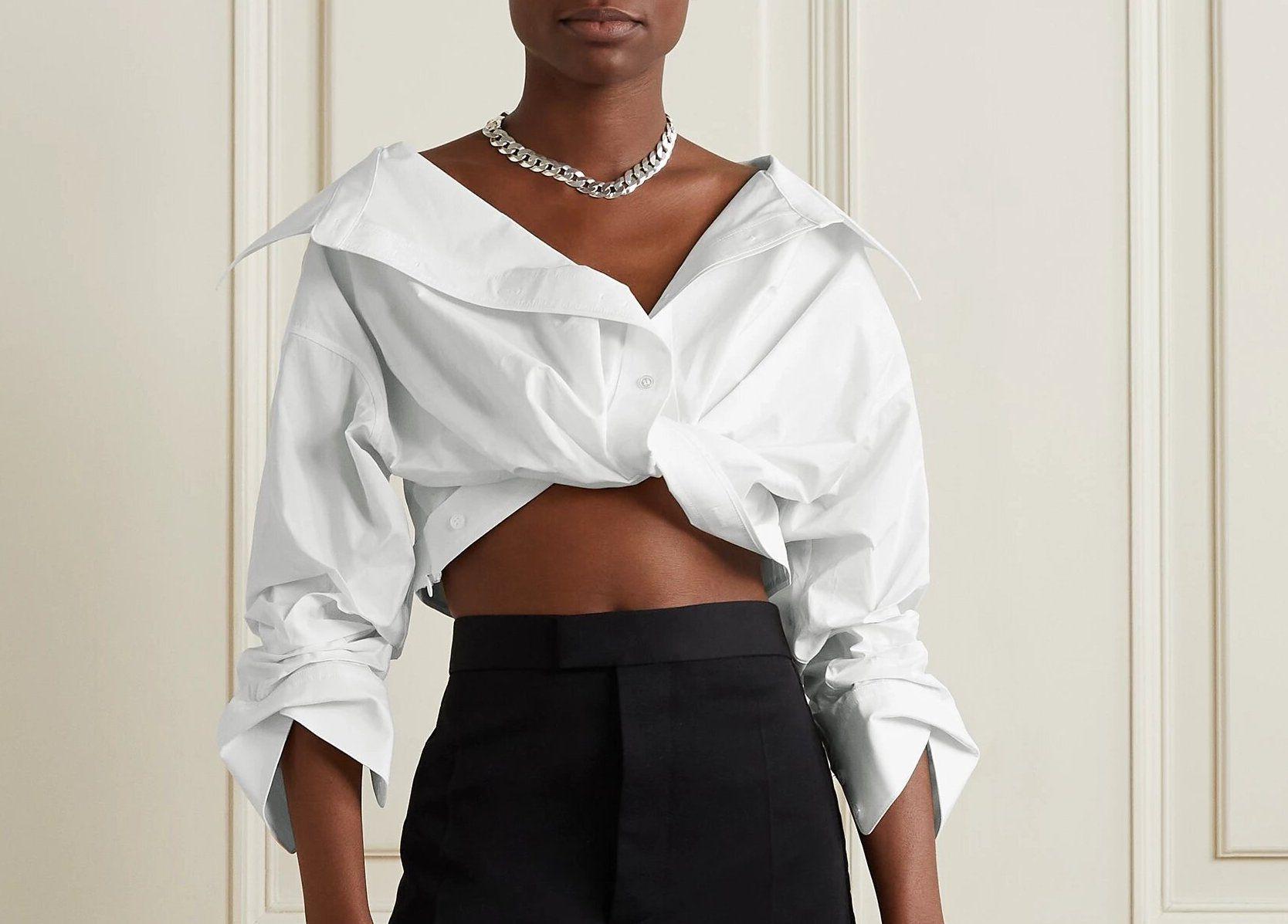 Alexander Wang Twist-Front Cropped Shirt