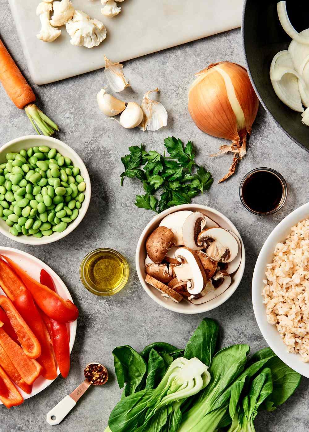 mushroom veggies prep for stir fry