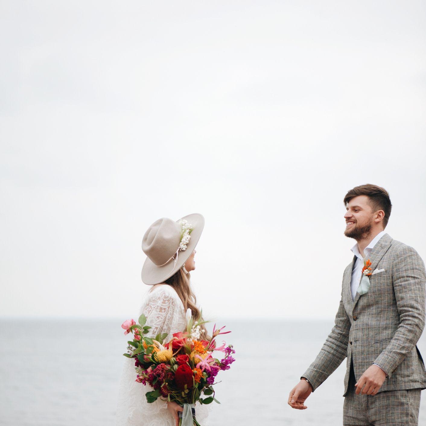 Couple at a beach wedding