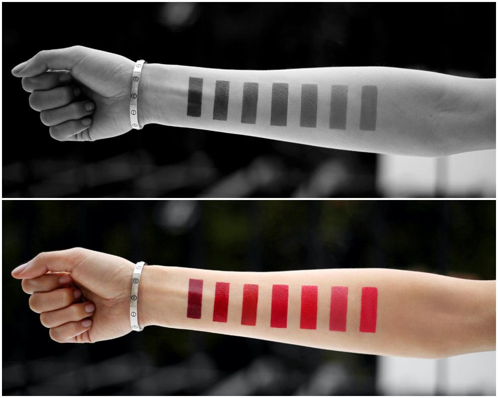 Red swatched on arms