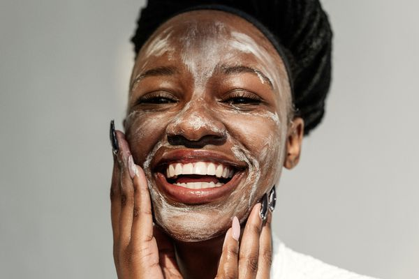 Woman doing skincare routine