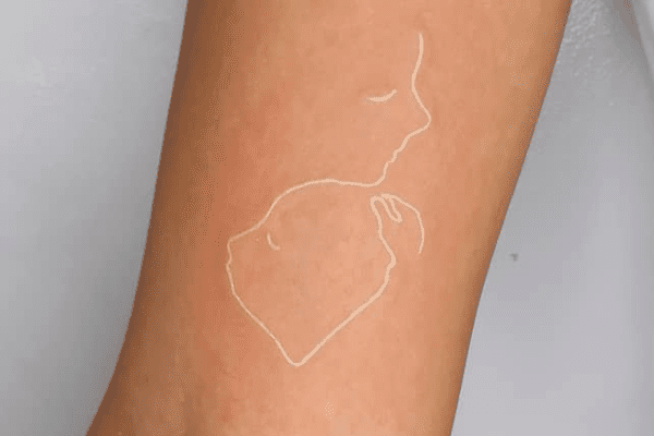 white ink tattoo outline
