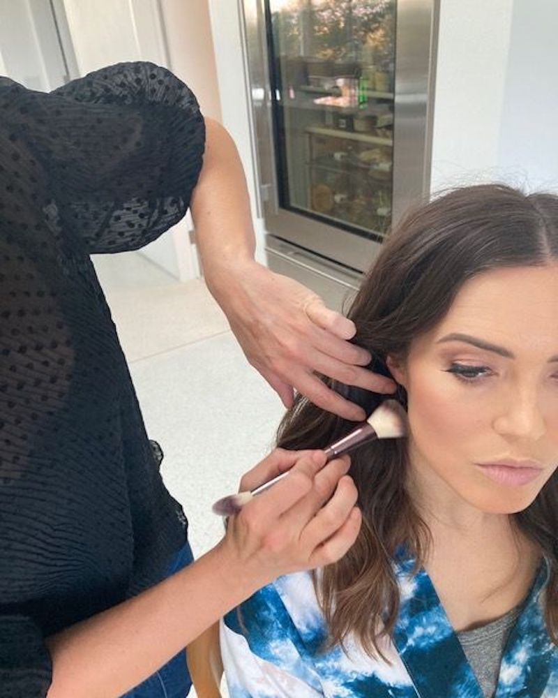 Mandy Moore getting ready