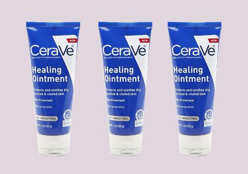 three cerave healing ointments against lavender background