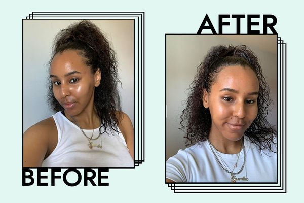 Images of writer before and after using Mielle Organics' Rosemary Mint Strengthening Masque