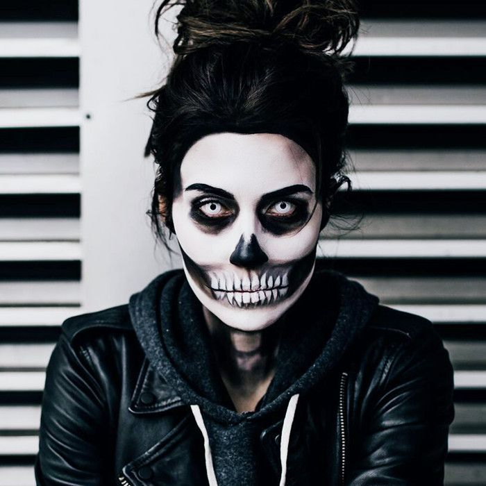 Woman wearing skull-themed makeup