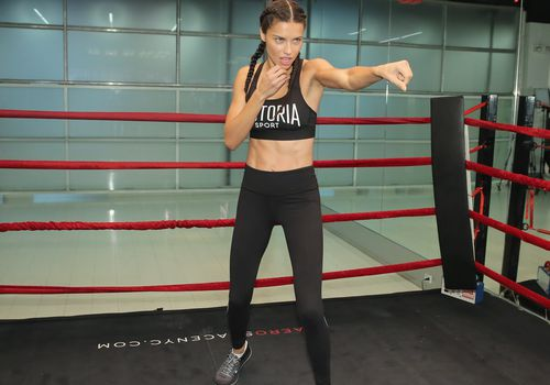 Adriana Lima boxing at the gym