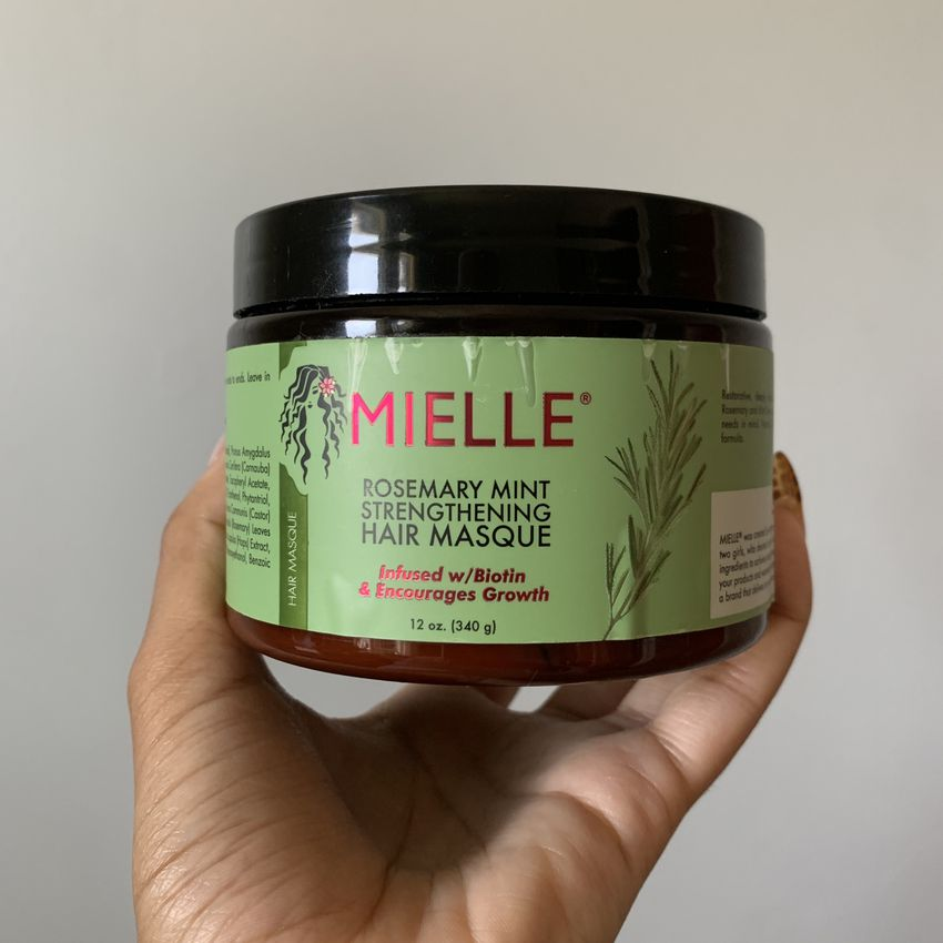 Mielle Organics' Rosemary Mint Strengthening Hair Masque against a white background