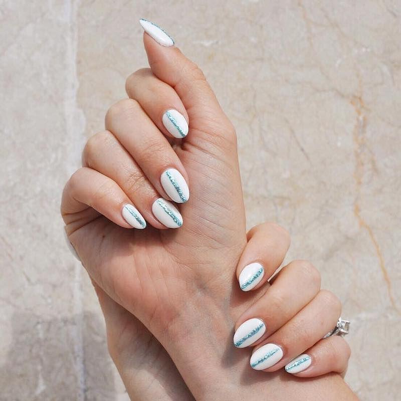 Simple Nail Designs Glitter Stripes