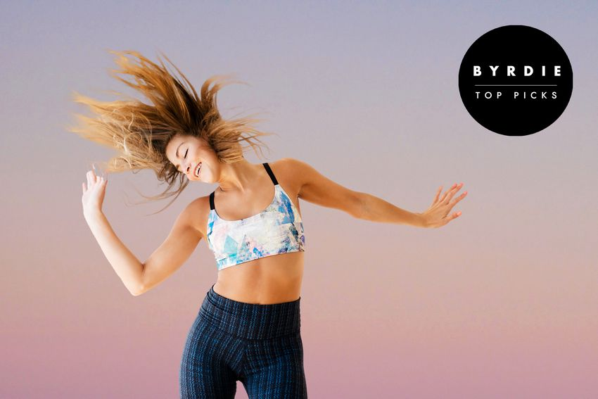 Photo composite of woman in athletic clothes dancing