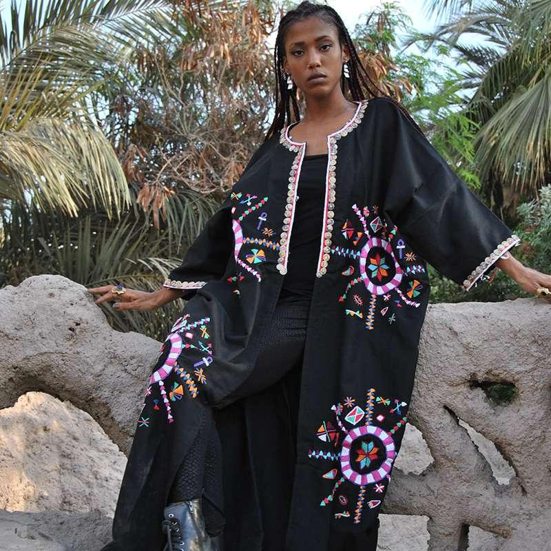 Bedouin Siwa Hand Embroidered Wool Kimono