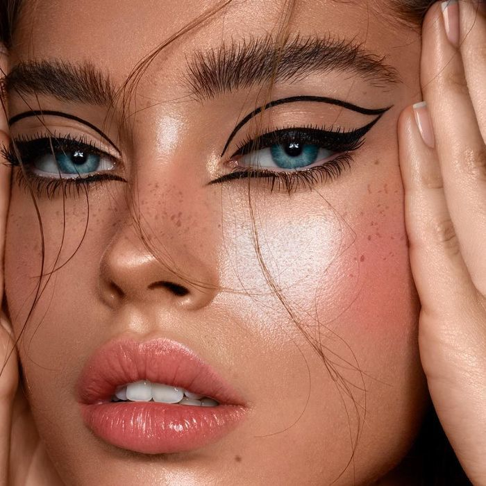 Model with dramatic eye makeup