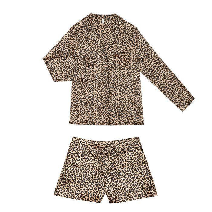 Yolke Leopard Print Classic Silk Short Set