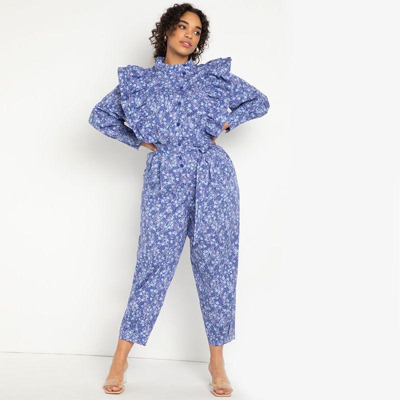 Ruffle Detail Printed Jumpsuit