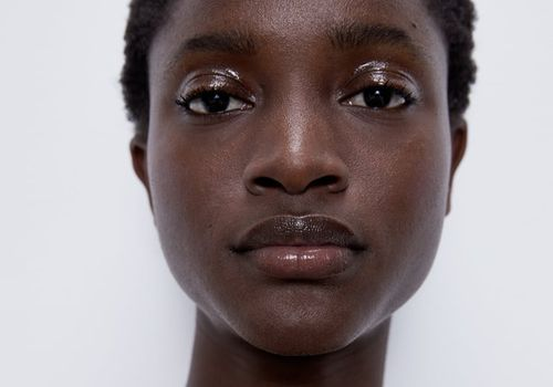 woman with glossy skin