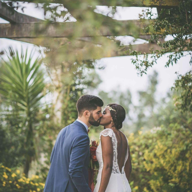 mixed raced couple on wedding day