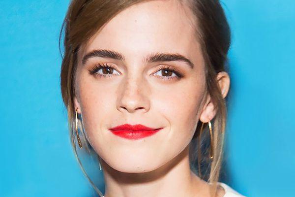 Emma Watson wearing red lipstick