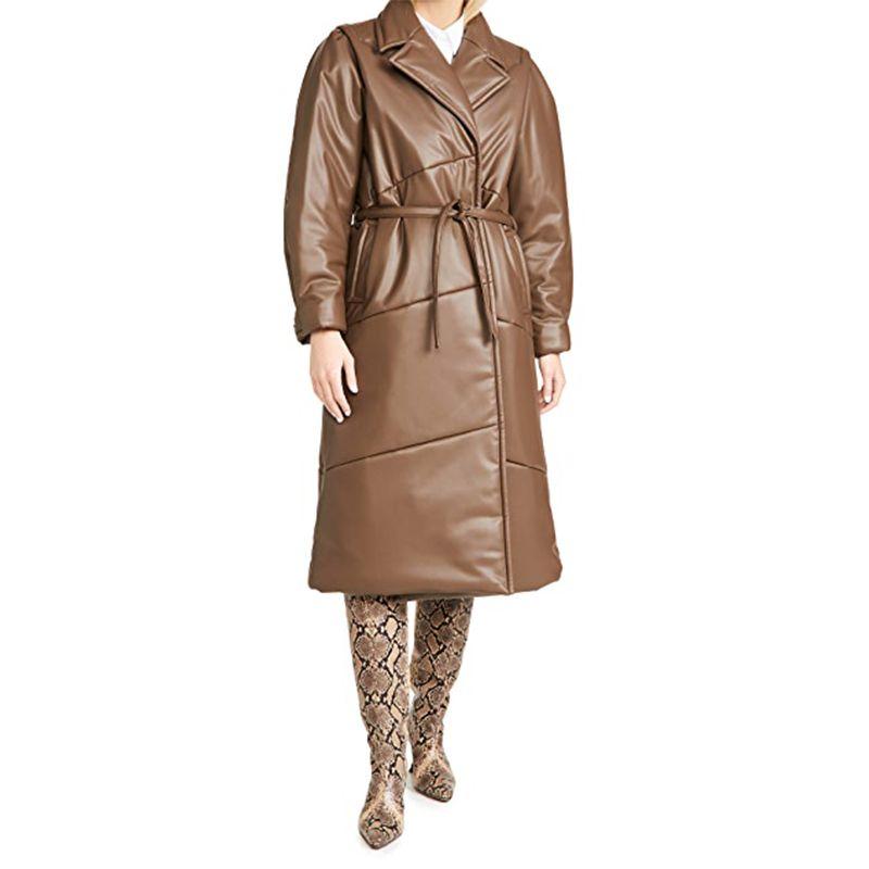 Vegan Leather Waist Tie Coat