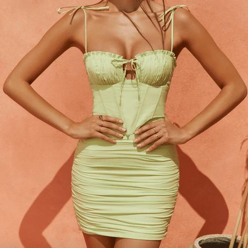 Oh Polly Sunshine Retreat Strappy Corset Mini Dress