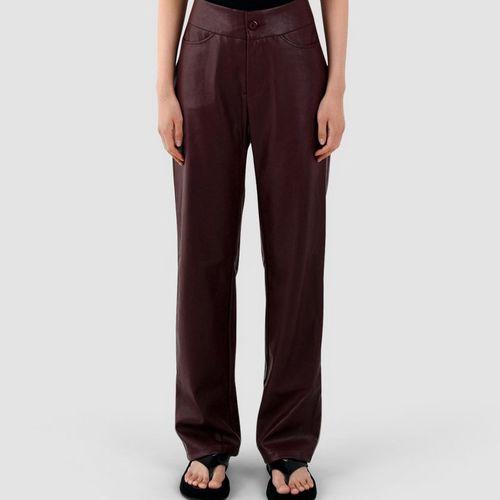 Sundarbay Maroon Vegan Leather Pants