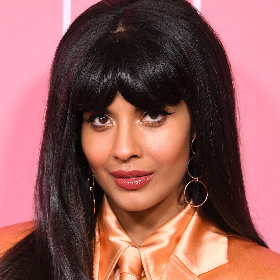 Jameela Jamil long, thick hair with bangs