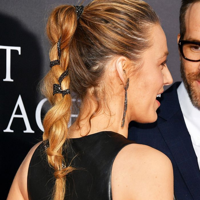 Blake Lively with a braided messy ponytail