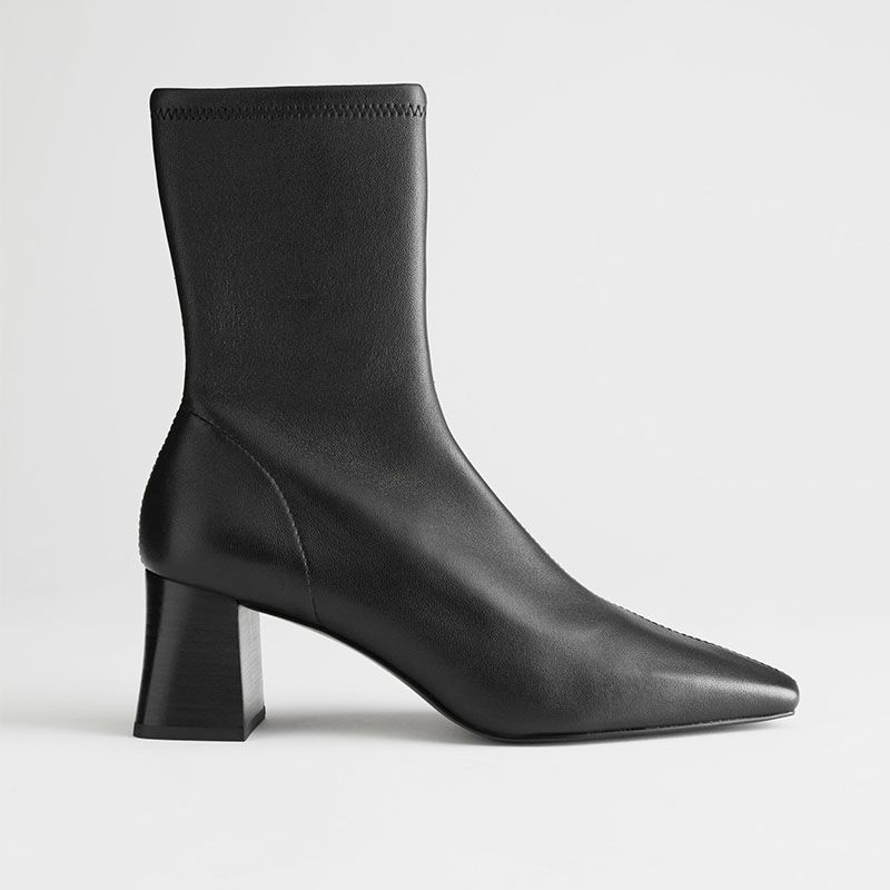 Heeled Leather Sock Boots